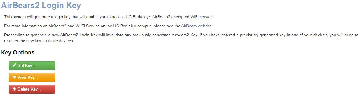 Image of the AirBears2 Login key webpage