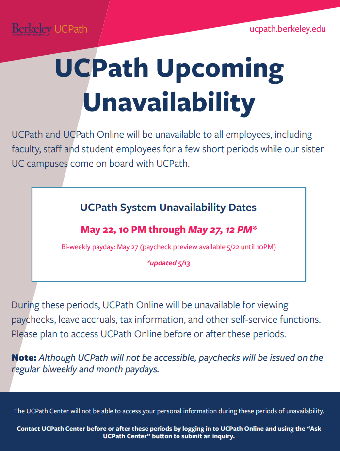 UCPath lockout dates for May 2020
